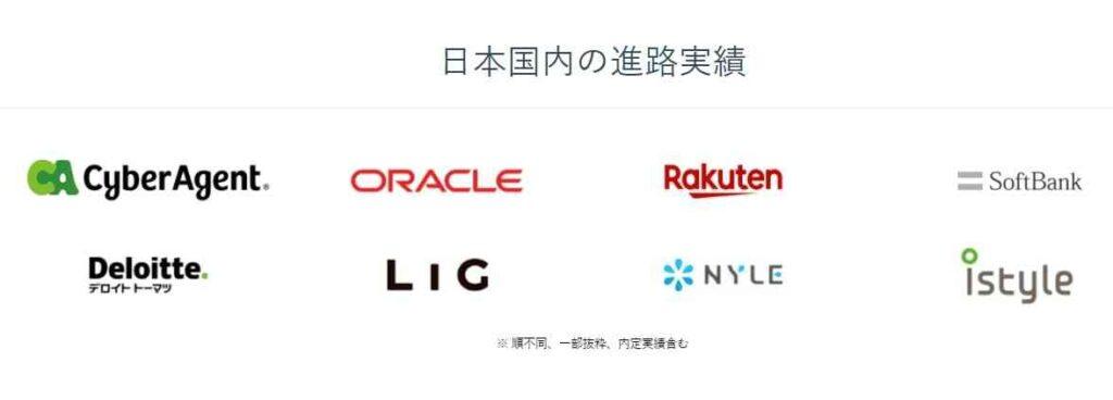 Kredoの卒業生の日本の企業の就職先