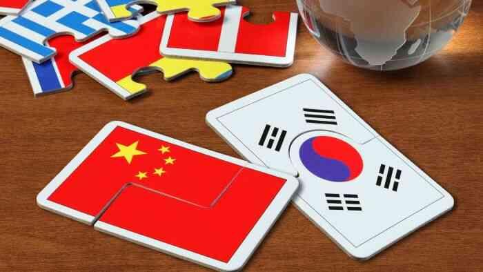 韓国と中国の国旗